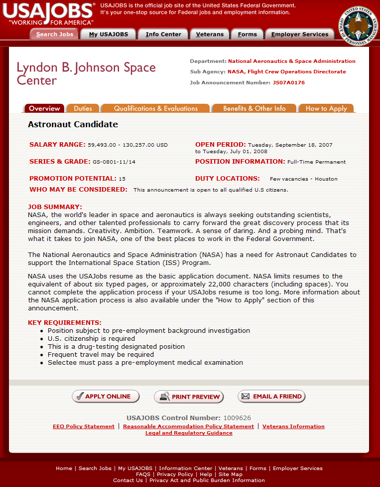 free generic, blank generic, part time, on job application form nasa